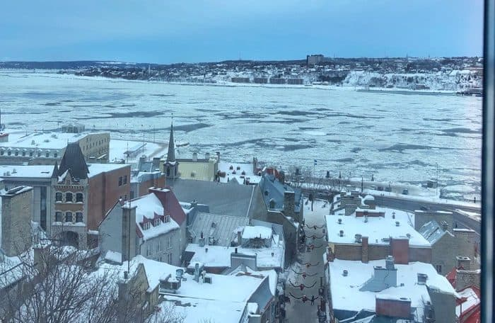 view of the Saint Lawrence River from the Old Quebec Funicular