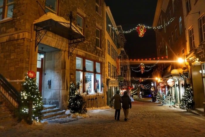 walking in Old Quebec City at night