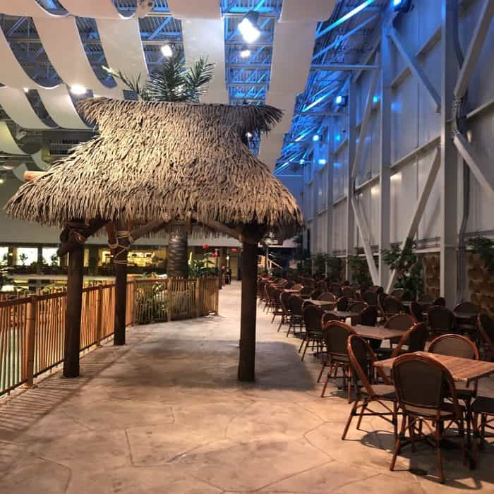 seating area at Bora Parc indoor waterpark at Hotel Valcartier in Quebec