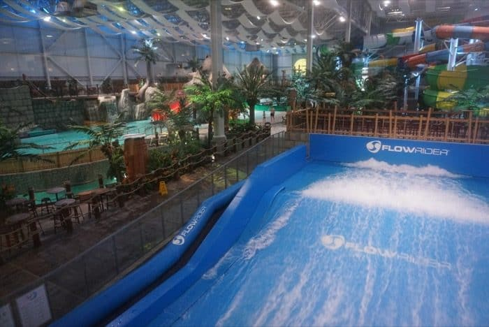 flowrider at Bora Parc indoor waterpark at Hotel Valcartier in Quebec