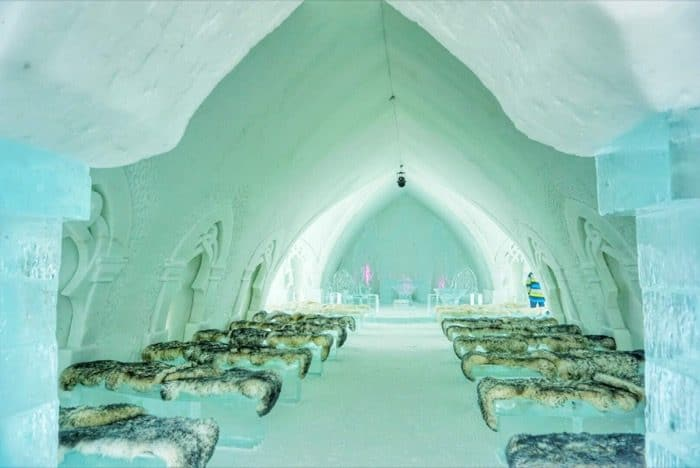 inside the ice Chapel at Hotel de Glace Ice Hotel
