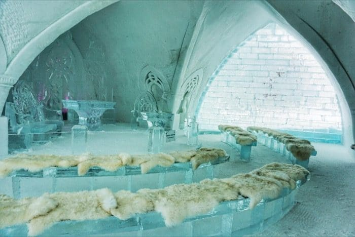 seating for the ice Chapel at Hotel de Glace Ice Hotel