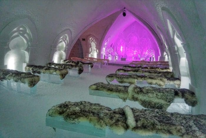Ice Chapel at Hotel de Glace Ice Hotel at night