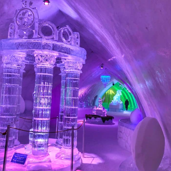 ice sculptures at Hotel de Glace