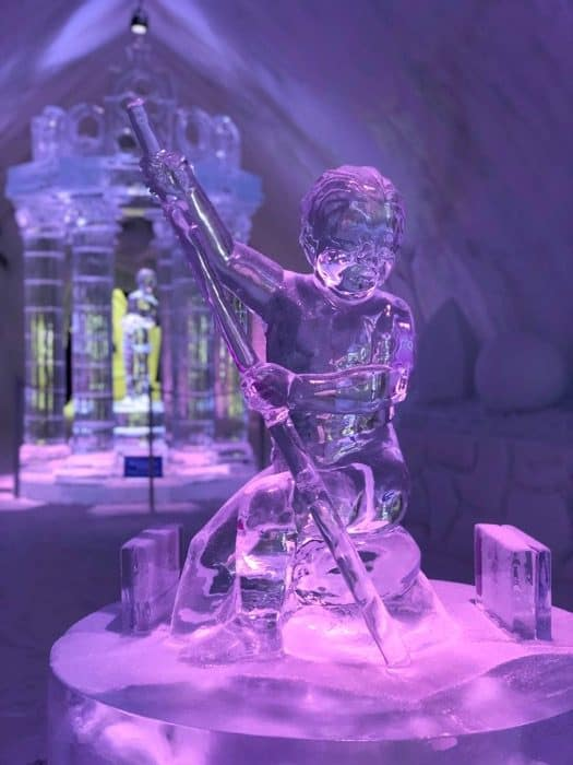 ice sculpture at Hotel de Glace