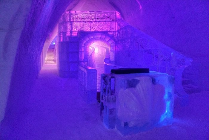 Slide Made of Ice at Hotel de Glace