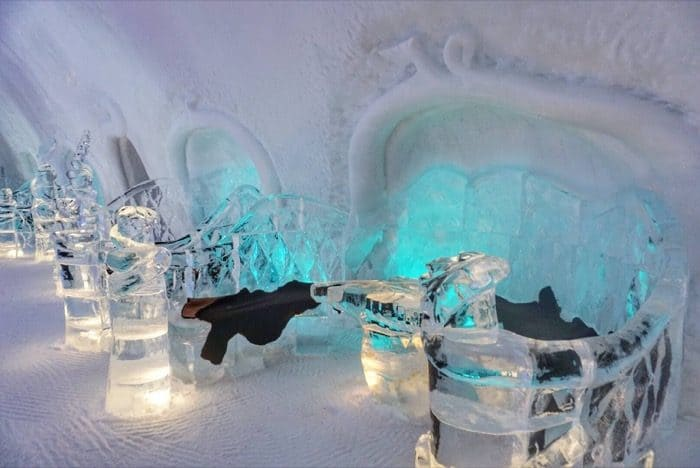 seating area by the Ice bar at Hotel de Glace Ice Hotel