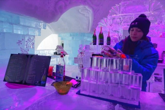 Ice bar at Hotel de Glace Ice Hotel