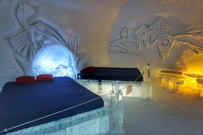 bedroom at the ice hotel