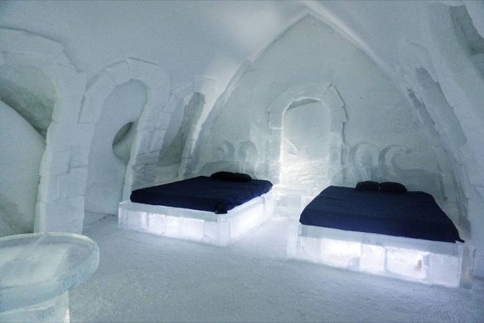 double beds at the ice hotel