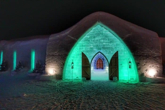 Chapel at Hotel de Glace Ice Hotel at night