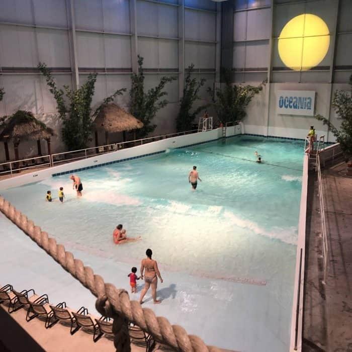 wave pool at Bora Parc indoor waterpark at Hotel Valcartier in Quebec