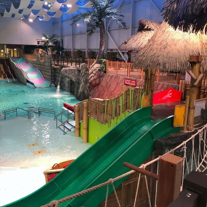 waterslides at Bora Parc indoor waterpark at Hotel Valcartier in Quebec