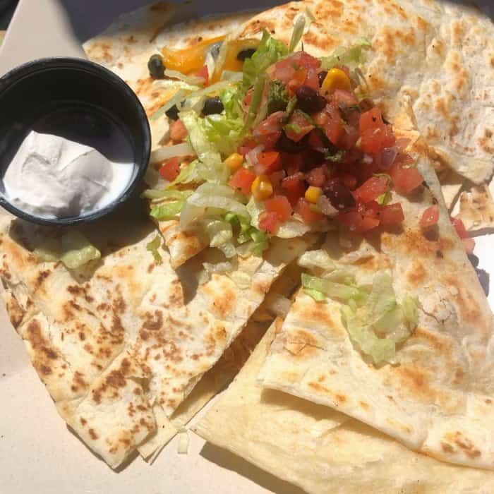 Beachside Quesadillas at Shaggy's Gulfport Beach in Gulfport, MS