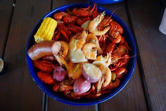 crawfish boil at Cajun Critters Seafood in Houma LA