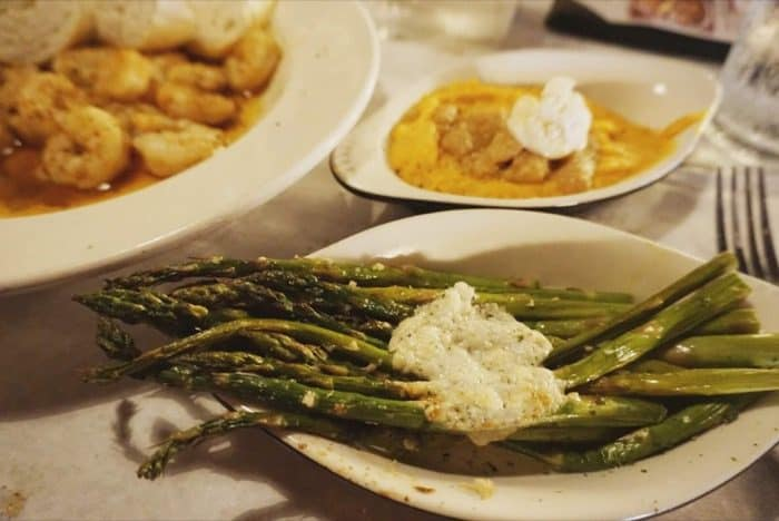 Grilled Asparagus topped with Gorgonzola Butter at Half Shell Oyster House in Gulfport, MS