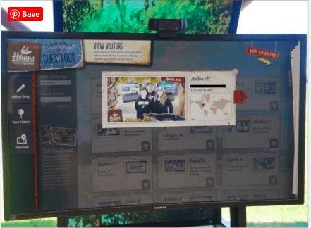 Virtual guestbook at Houma Visitor Center in Louisiana