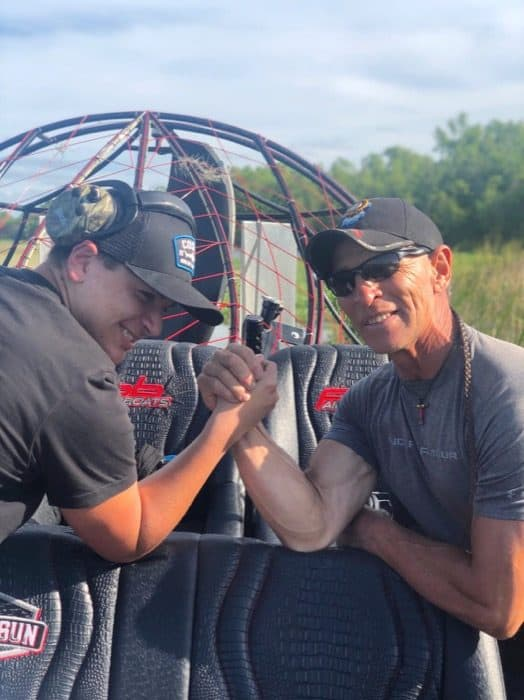 arm wrestling RJ Molinere of History Channel's Swamp People