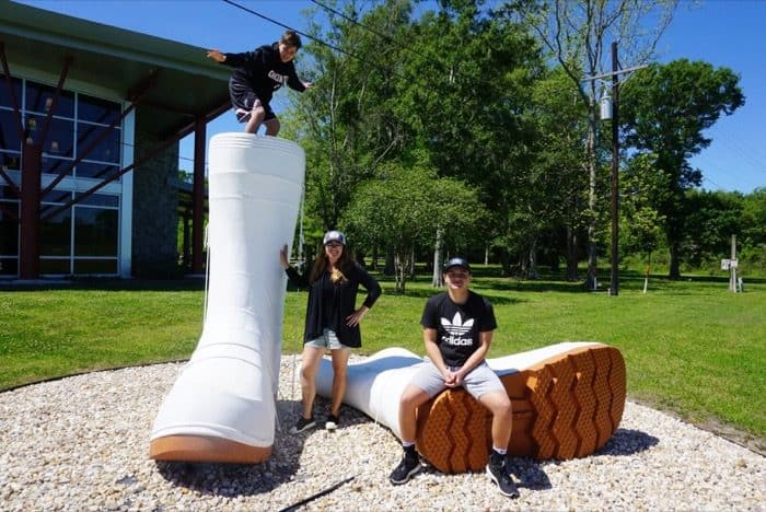 giant white boots at Houma Visitor Center in Louisiana