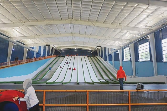 snow tubing indoors at Pigeon Forge Snow