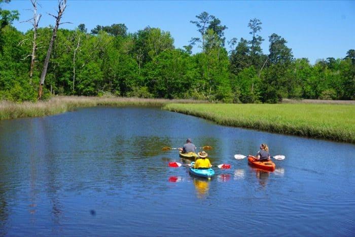 kayakers at Gulf Islands National Seashore at Davis Bayou