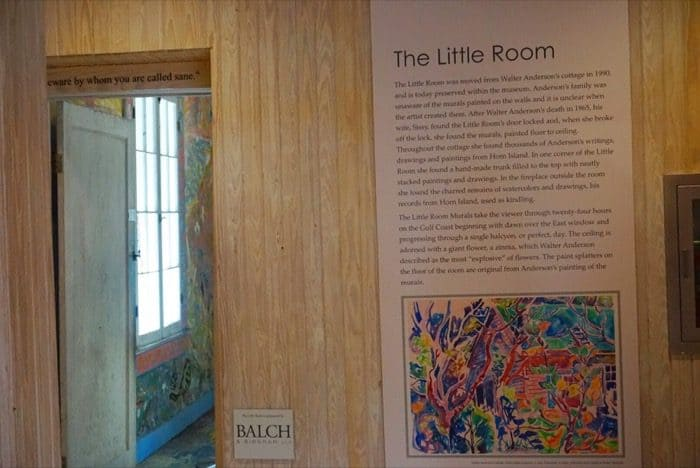 The Little Room Exhibit at Walter Anderson Museum of Art in Ocean Springs, MS