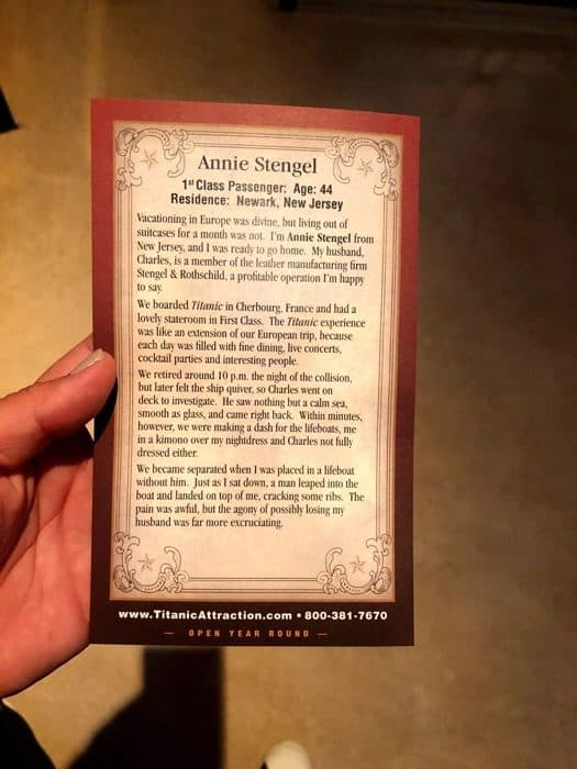 passenger card for Titanic Museum Attraction