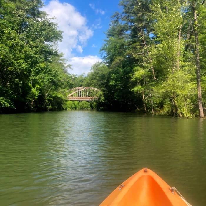Kayaking to bridge at Lake James State Park