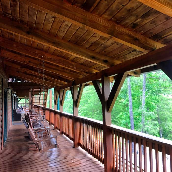 back porch of the Lodge at Cliffview Resort near Red River Gorge