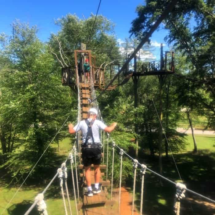 balancing on bridge at Catawba Meadows Park