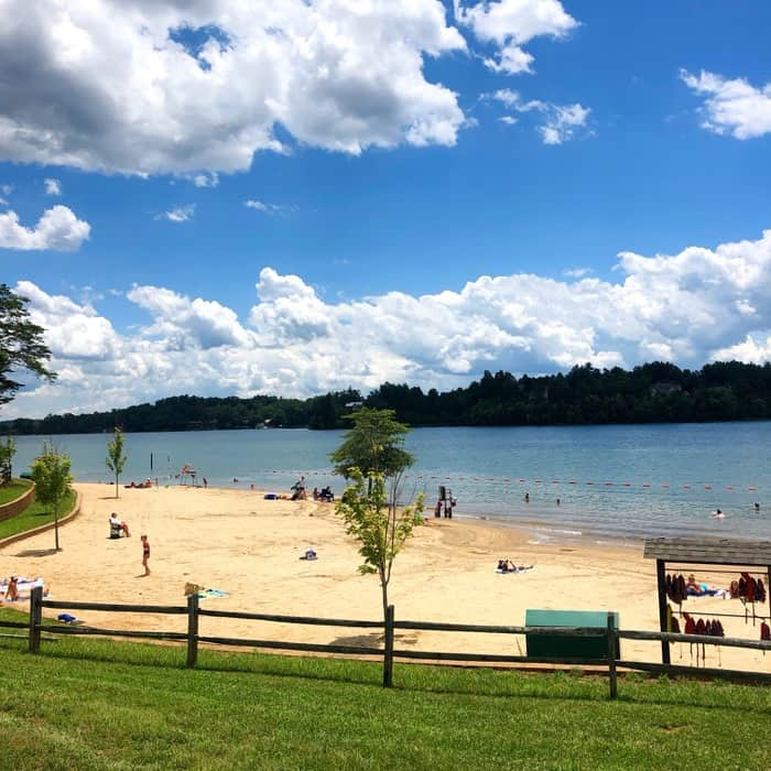 beach at Paddy's Creek Recreation Area at Lake James State Park