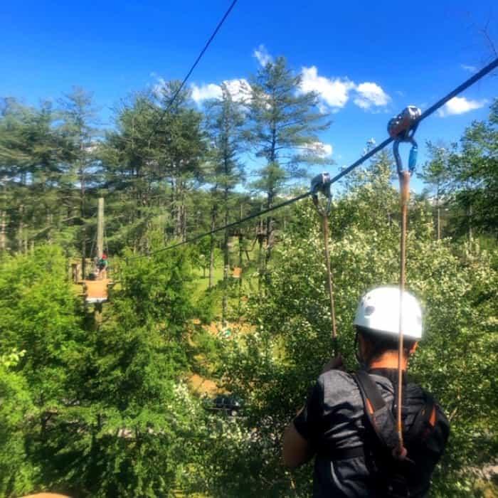 boy ziplining Beanstalk Zip Line Journey at Catawba Meadows Park