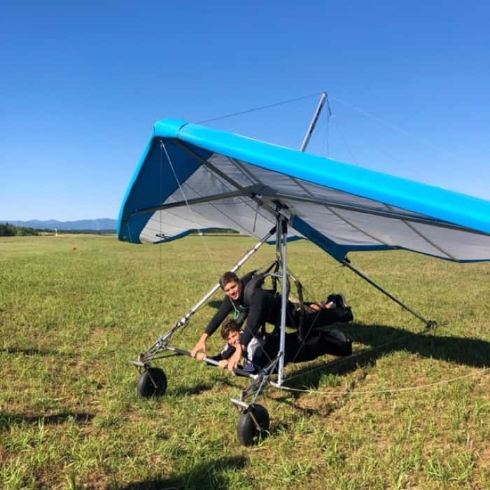 boys testing out tandem harness Thermal Valley Hang Gliding