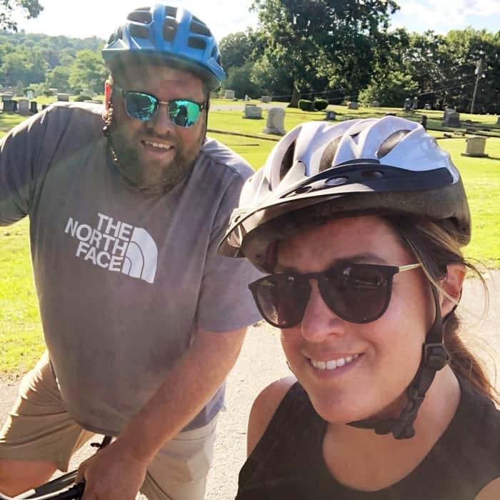 couple on Community Bike Ride with Overmountain Cycles