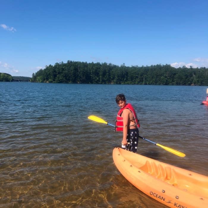 kid Kayaking at Paddy's Creek Recreation Area at Lake James State Park