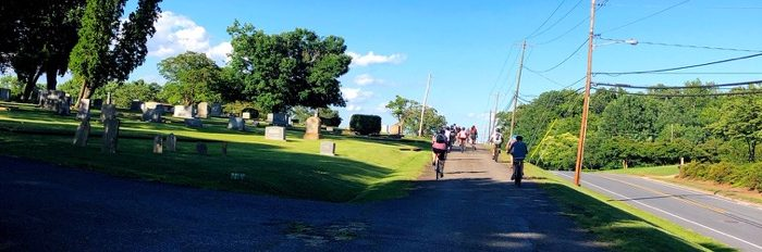 ride through cemetary during Community Bike Ride with Overmountain Cycles