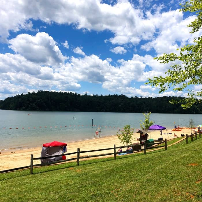 the beach at Paddy's Creek Recreation Area at Lake James State Park