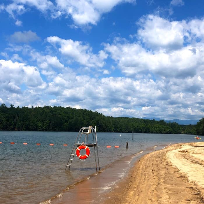 view of the beach at Lake James State Park