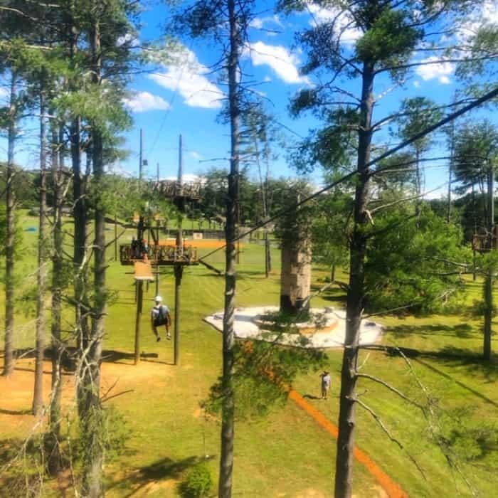 ziplining at Beanstalk Zip Line Journey at Catawba Meadows Park