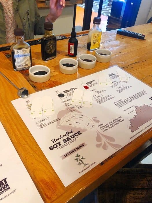 soy sauce tasting at Bourbon Barrel Foods in Louisville Kentucky