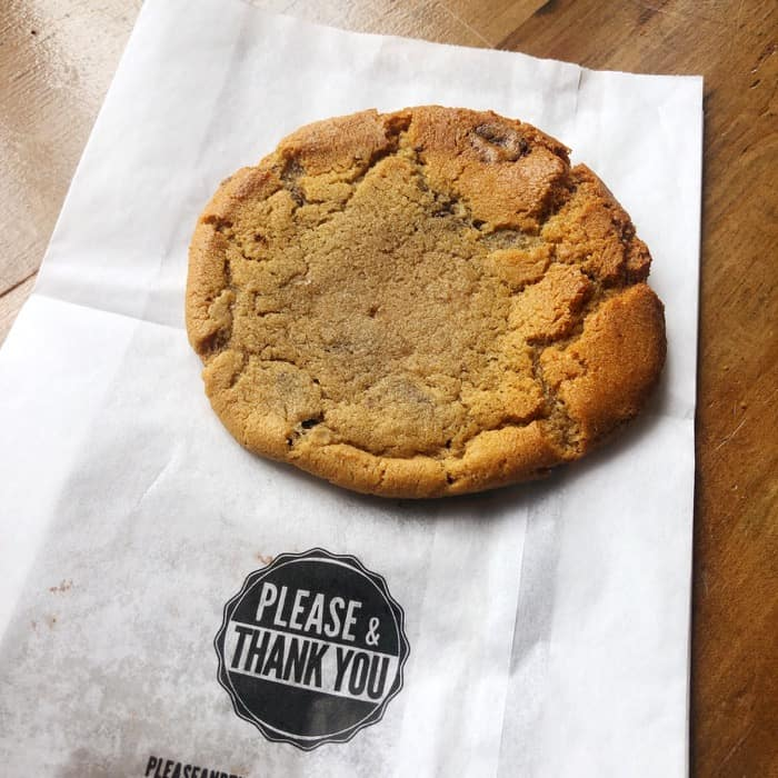 chocolate chip cookie from Please and Thank you coffee shop
