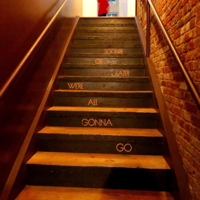 stairs at Hell or High Water Speakeasy in Downtown Louisville