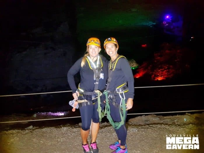 adventure mom and friend Zipline Underground at Louisville Mega Cavern