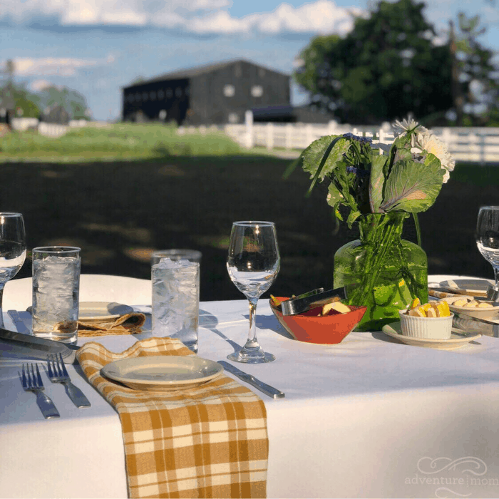 outdoor dining at Shaker Village