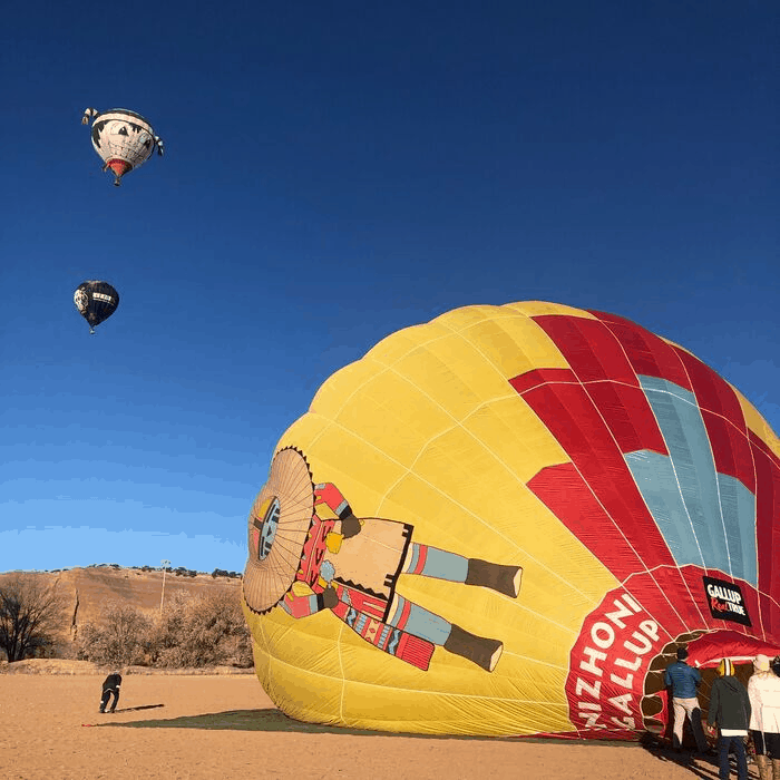 hot air balloons at Red Rock Park in Gallup, New Mexico