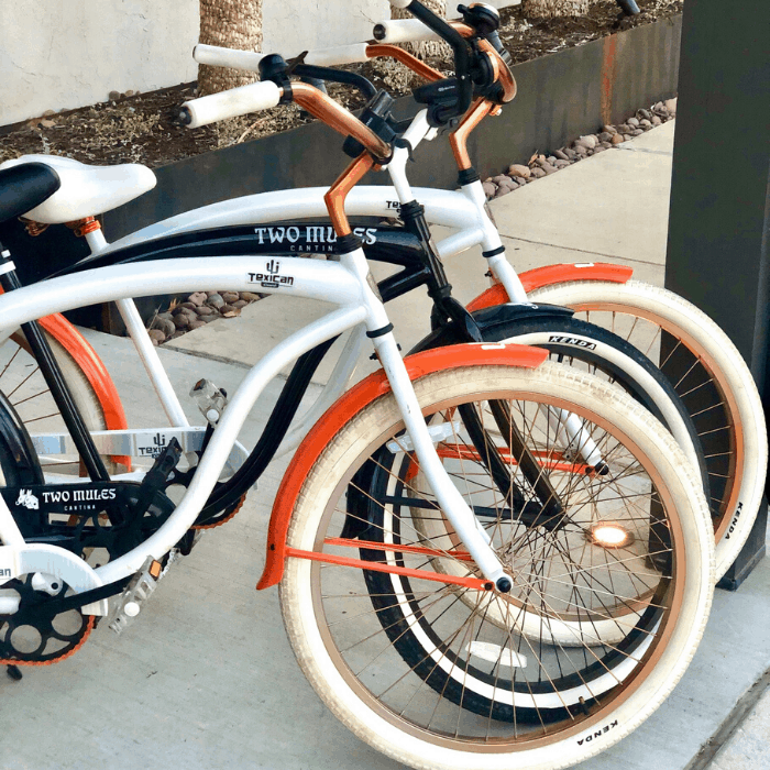 bicycles for overnight guests to use at the Texican Court