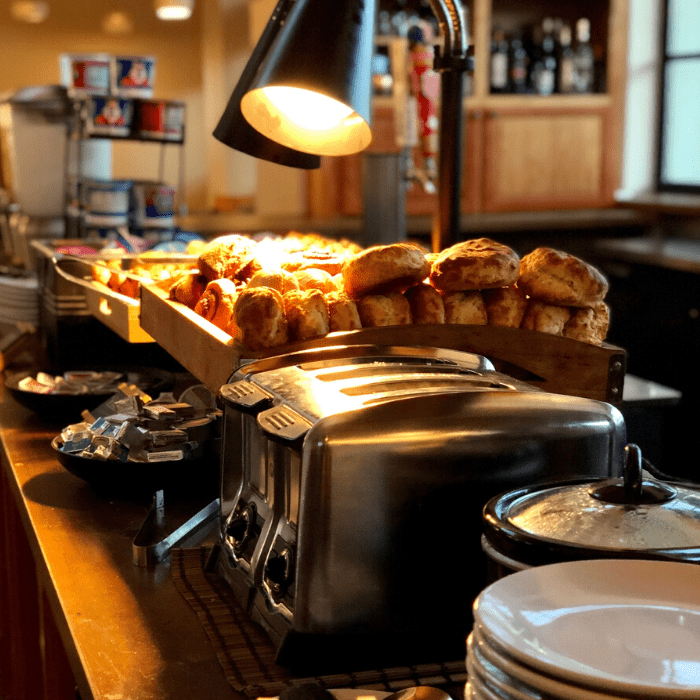 complimentary breakfast at Two Mules Cantina at Texican Court