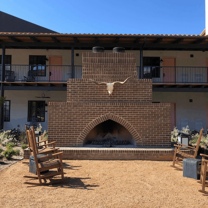 outdoor fireplace at the Texican Court in Irving Texas