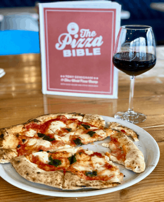 pizza and wine at 1889 Pizza Napoletana in Kansas City Kansas