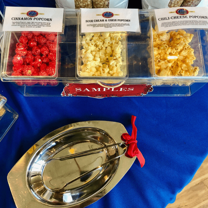 popcorn tasting at Velvet Creme Popcorn in Kansas City Kansas